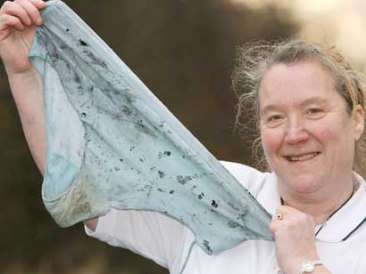 Jenny Marsey from Hartlepool, holds her size 16-20 Knickers which were used to stop a fire at her home.